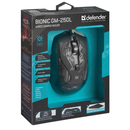 Мышь Defender Bionic GM-250L Black USB фото 14