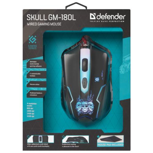 Мышь Defender Skull GM-180L Black USB фото 14
