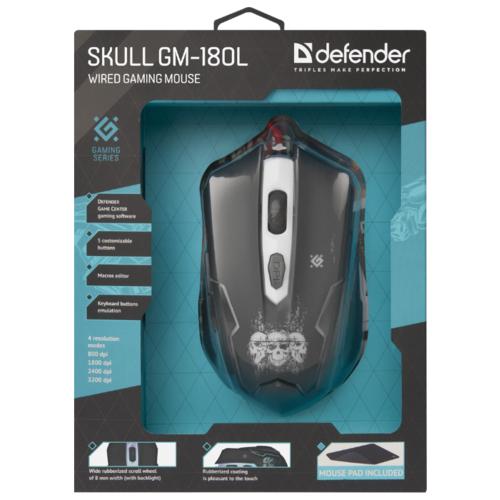 Мышь Defender Skull GM-180L Black USB фото 16