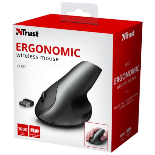 Мышь Trust Varo Wireless Ergonomic Mouse Black USB фото 3